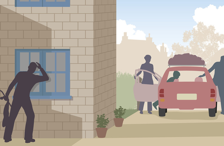 Family leaving for vacation as thief lurks around