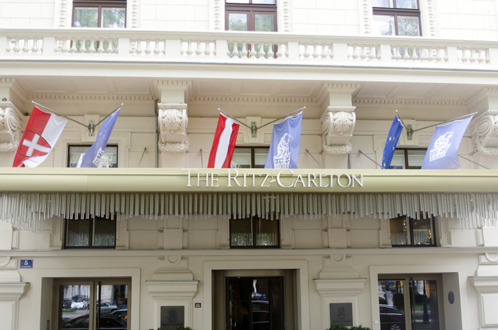 Vienna/Austria - May 10 2014: The Ritz Carlton hotel at the Schubertring Strasse.